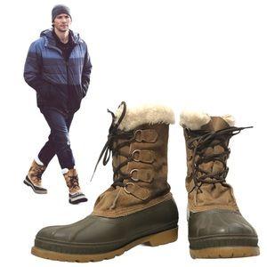 Sorel Men's 9 Caribou Leather Duck Boots Faux Fur